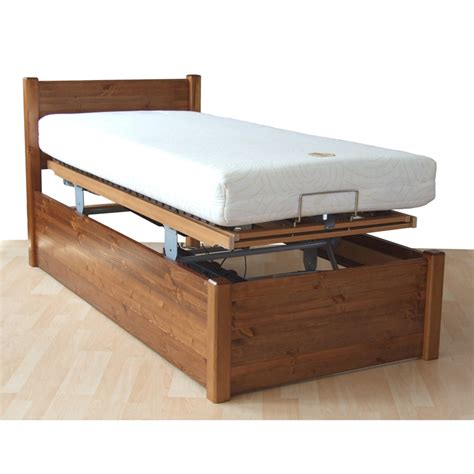 contemporary square wooden variable height profiling adjustable bed living made easy
