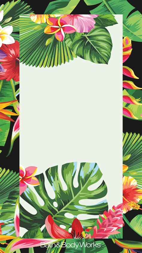 tropical flowers palm leaves iphone wallpaper border