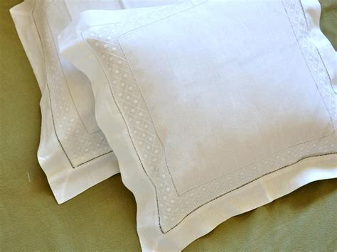Linen Throw Pillow Covers by Pair Of White Linen Throw Pillow Covers With Dot Weave