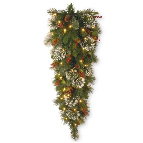 18 inch battery lit christmas tree national tree company wintry pine 48 in teardrop with battery operated warm white led lights