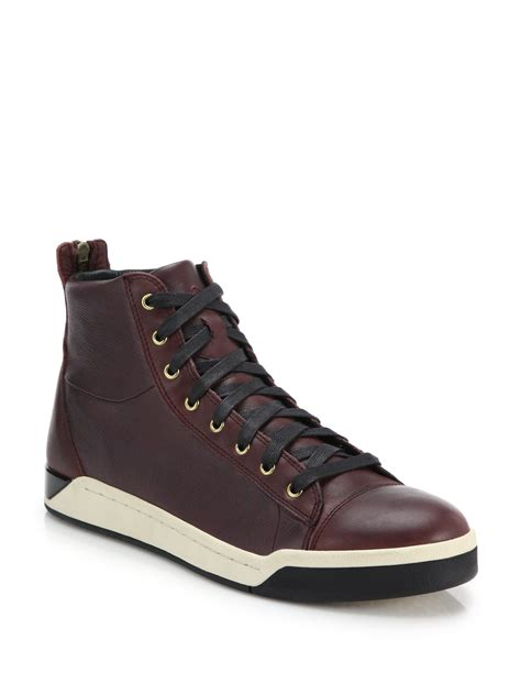 best leather sneakers lyst diesel tempus leather high top sneakers in