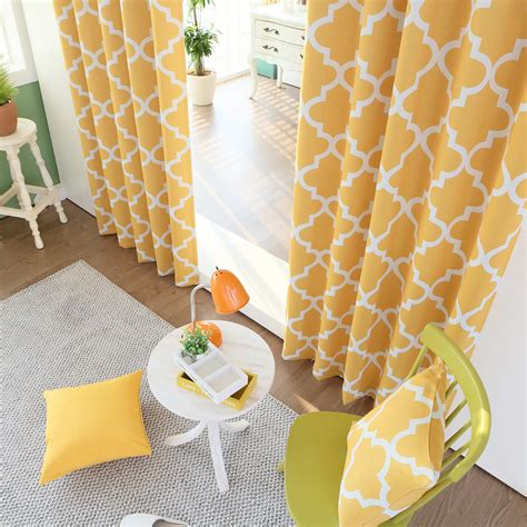 yellow moroccan curtains yellow moroccan tile printed room darkening grommet