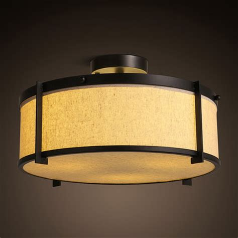 Iron Fabric Lshade Chinese Japanese Style Ceiling Light Led Bedroom Light Fixtures