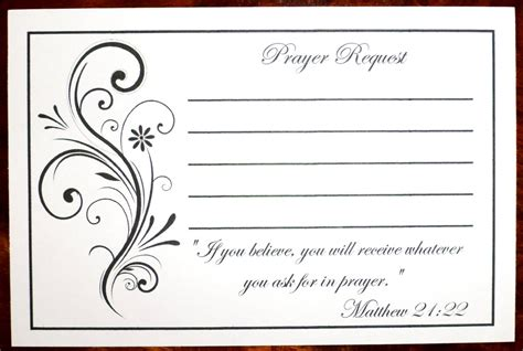 prayer card template pack of 100 prayer request cards