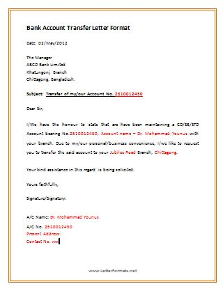 Transfer Request Letter In Bank how to transfer bank account to another branch letterformats