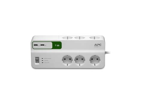 Apc Essential Surgearrest 230v With 2 Usb Charger Port 5v 2 4a apc pm6u gr apc essential surgearrest 6 outlets with 5v 2 4a 2 port usb charger 230v germany