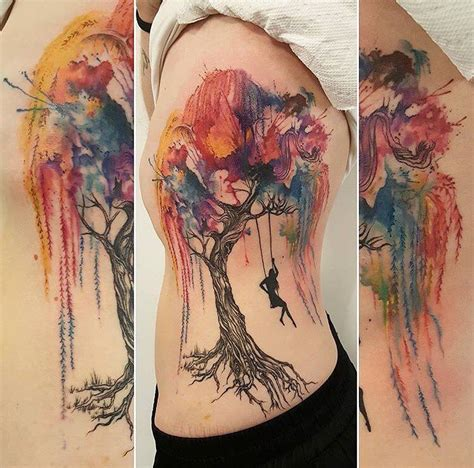 watercolor tattoos toronto watercolor willow tree and swing by