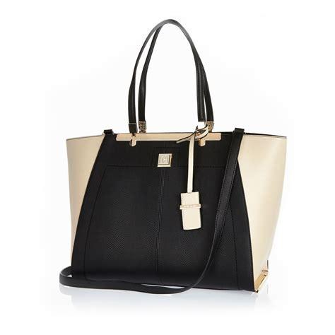 Handbag Tote Bag Black river island black oversized winged tote handbag in black