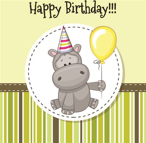 Baby Happy Birthday Card Happy Birthday Baby Greeting Cards Vector Free Vector In