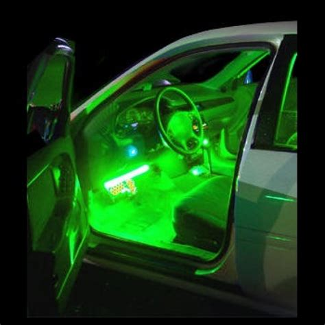 Car Led Lights Strips Green Interior Led Neon Glow Lighting Kit Strips Inside Cars Trucks 12v Ebay