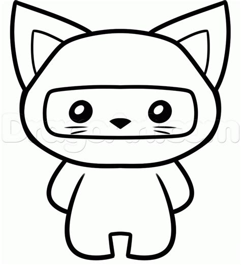 ninja cat coloring page how to draw a ninja cat step by step cartoon animals