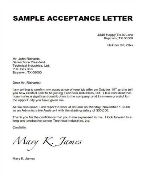 Formal Product Offer Letter 14 acceptance letters