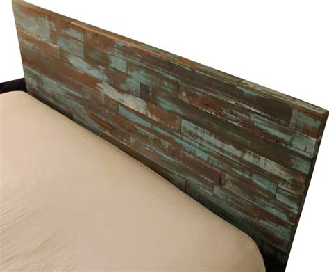 reclaimed wood headboard painted green and blue cal king