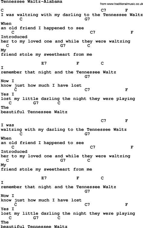 waltz lyrics country tennessee waltz alabama lyrics and chords