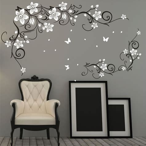 butterfly vine flower vinyl wall art stickers wall decals