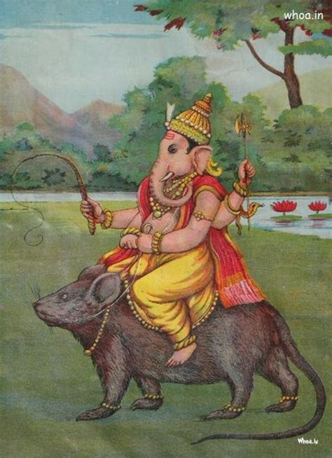 lord ganesha paintings  lord ganesha sitting   rat
