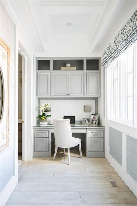 Grey Wainscoting by Green Office Contemporary Den Library Office Diane