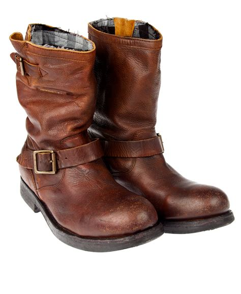 mens leather biker boots new mens superdry premium richy biker boots brown leather