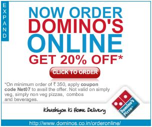 domino pizza voucher code get 20 off on order above rs 350
