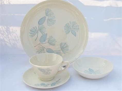 Cottage Dishes by Monmouth Blue Spruce Pine Pattern Pottery Dinnerware For 8