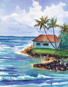 ocean beach red house painters the beach print of original watercolor seascape painting
