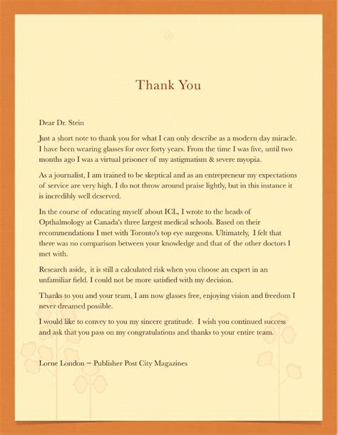 Thank You Letter To Doctor Raymond Stein Md Laser Eye Surgeon 171 Dr Raymond Stein Toronto Ontario