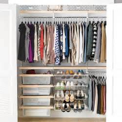 Shop Closet Organizers Birch White Elfa D 233 Cor Reach In Clothes Closet The