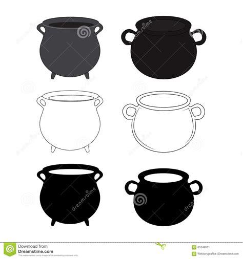 halloween empty witch cauldron pot set cartoon vector