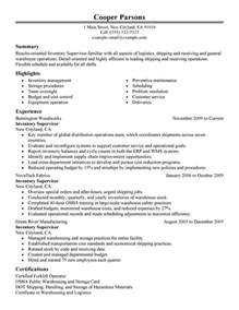 warehouse supervisor sle resume inventory supervisor resume sle my resume