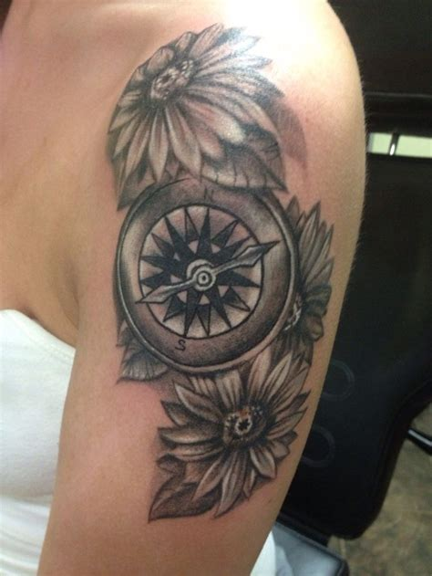 compass tattoo with flowers compass and flowers tattoos by lisa strange pinterest