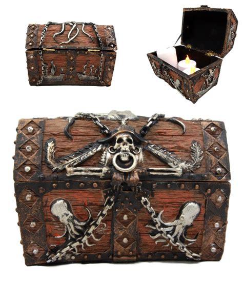 octopus pirate haunted chained skull treasure chest box