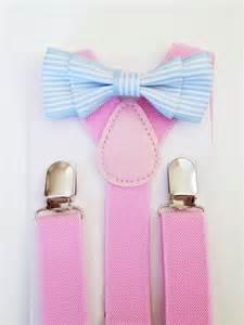 blue bow tie suspenders set light blue baby bowtie pink