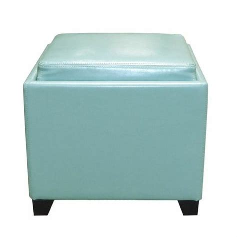 Ottoman With Trays Armen Living Contemporary Leather Storage Ottoman With Tray In Blue Lc530otlesb