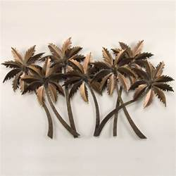 tropical palm grove metal wall sculpture