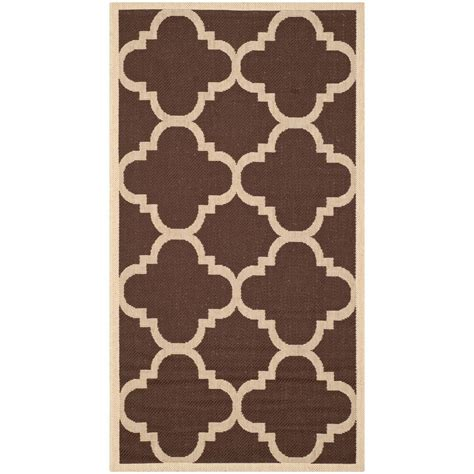 Safavieh Courtyard Dark Brown 2 Ft X 3 Ft 7 In Indoor Outdoor Rugs Home Depot