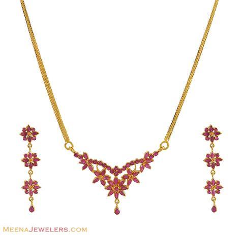 ruby necklace set 22 karat gold stps9511 22kt gold
