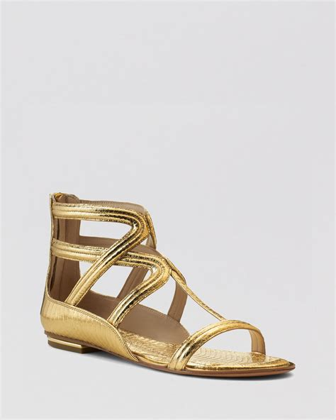 michael kors gold flat shoes michael kors flat gladiator sandals in gold lyst