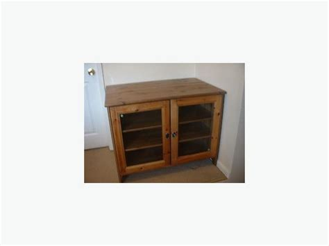 Pine Tv Cabinets With Doors Euc Ikea Leksvik Solid Pine Tv Cabinet With Glass Doors City