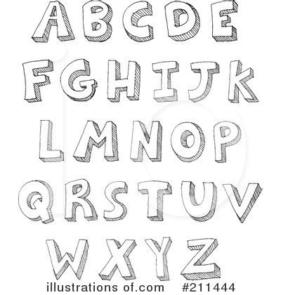 Letters Clipart #211444 - Illustration by yayayoyo Free Black And White Clip Art Letters