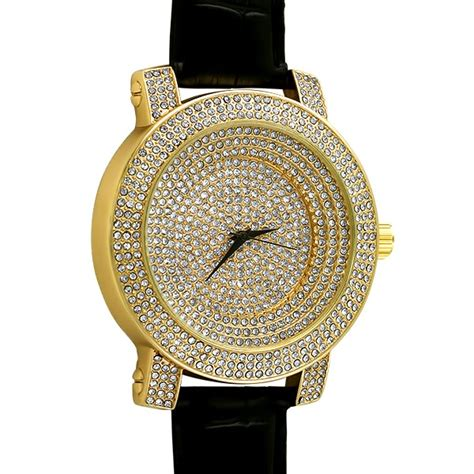 iced out bling bling stadium gold black leather