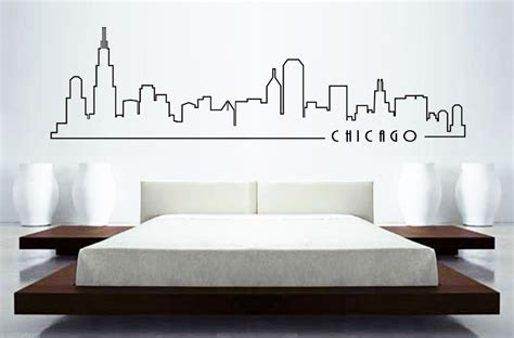 skyline wall stickers chicago skyline mural wall sticker home decor skyline