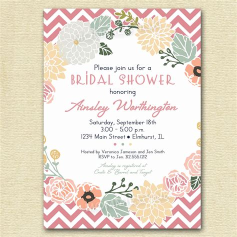 create bridal shower invitations free vintage flower wreath and pink chevron bridal shower invite yellow chevron printable