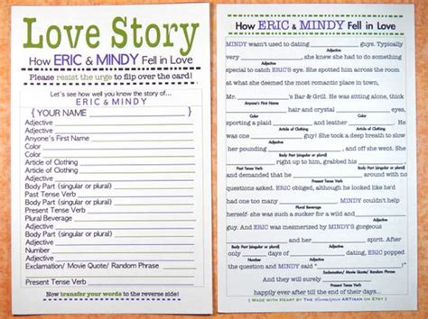 bridal mad libs template bridal shower mad lib story bachelorette