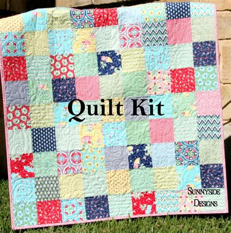 Patchwork Quilt Kits For Beginners - vintage baby quilt kit pedal pushers aqua flowers simple