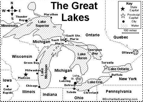 map of us with great lakes labeled great lakes map quiz printout enchantedlearning