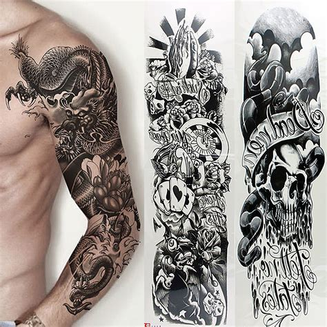 fake sleeve tattoos for men 5 sheets temporary waterproof large arm