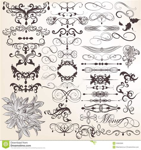 decorative classic wedding design elements vector collection of vector vintage decorative and calligraphic