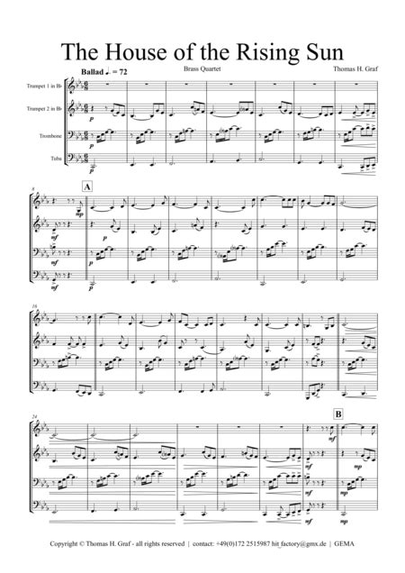 Download The House Of The Rising Sun - Brass Quartet Sheet