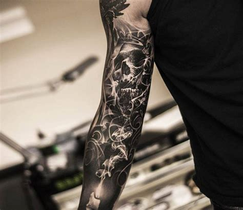 black and grey sleeve tattoo by oscar akermo post 14826