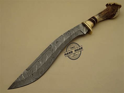 Handmade Damascus Knives - damascus kukuri knife custom handmade damascus steel